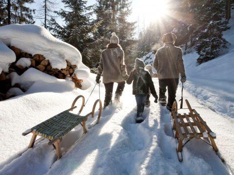 Familie mit 2 Kindern spazieren durch Winterlandschaft und ziehen zwei Rodeln hinterher. links im Bild ist ein schneebedeckter Holzhaufen. im Hintergrund Wald und Sonnenschein.